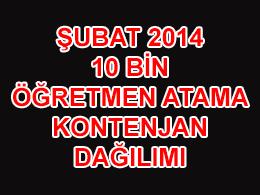 2014 Şubat Dönemi 10 Bin Öğretmen Atama Kontenjan Dağılımları