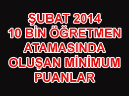 Şubat 2014 Öğretmen Atamalarında Oluşan Minimum Puanlar